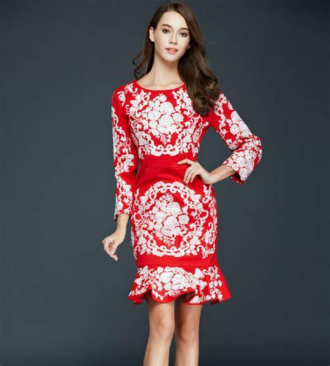 Dress Pesta Gaun Acara Gown Baju Slim Fit Style Jepang Merah model baju dress panjang simple untuk gaun pesta modelhijab
