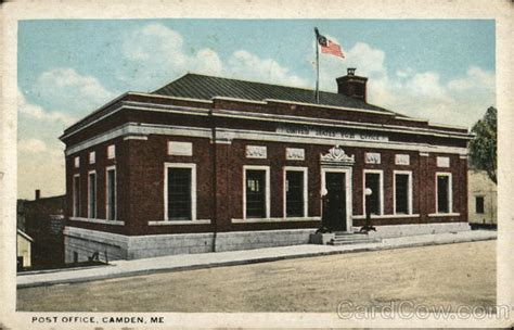 Camden Maine Town Office by Post Office Camden Me Postcard