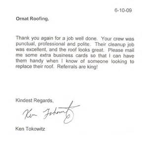 Appreciation Letter To Employee For Job Well Done Testimonials Ornat Roofing Corp
