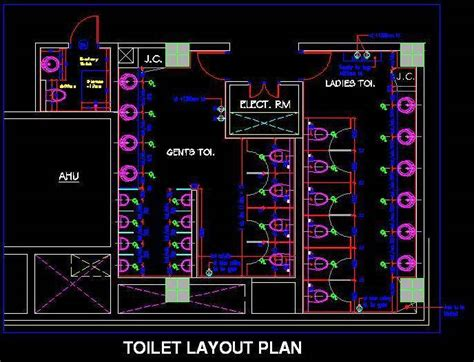 ladies  gents toilet layout autocad dwg plan  design