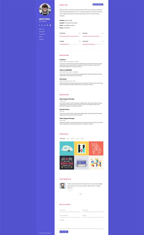 One Page Bootstrap Resume Free Responsive Html5 Bootstrap Personal Template Htmltemplates Co Free One Page Responsive Html Resume Template