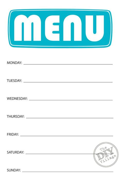 family dinner menu template 17 best ideas about weekly menu planners on