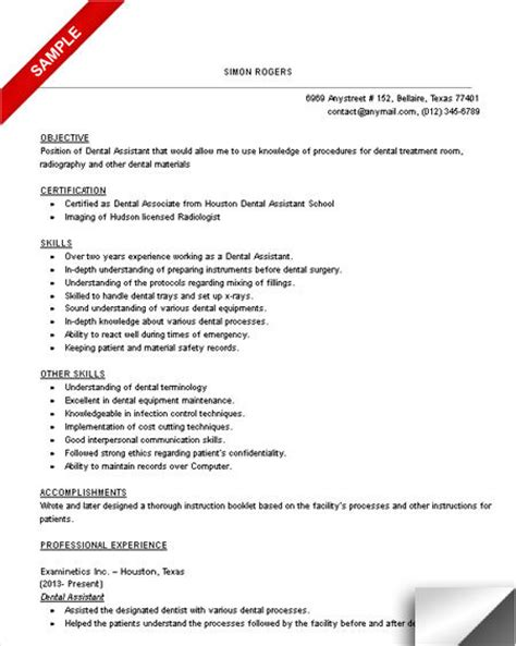 Sle Resume Dental Assistant Skills Checklist 10 dental assistant resume templates free pdf sles