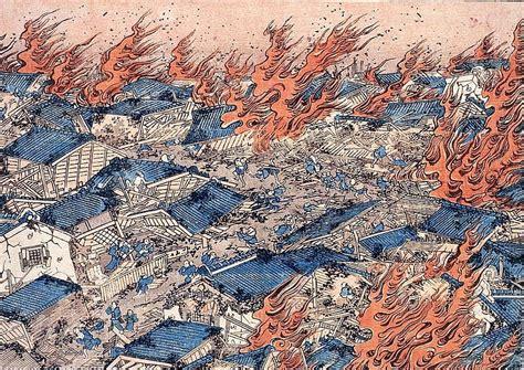 japanese fire scene showing  type  devastation caused