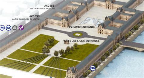 The Louvre Floor Plan by Four Louvre Entrances Paris Bus Lady