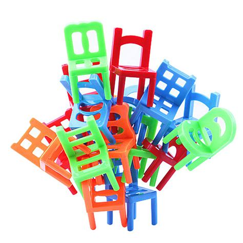 desk games to play at work 18pcs plastic balance toy stacking chairs desk play game
