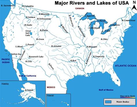 america map rivers geography maps esl resources