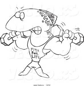 Vector Of A Cartoon Fish Lifting Weights And Wearing For 0jpg sketch template