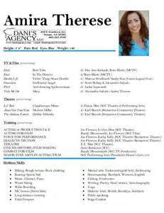 talent resume sle 100 how to do an acting resume musical theatre resume