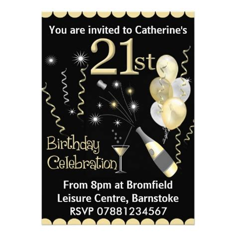 21st birthday party invitations black gold 5 quot x 7