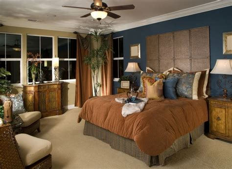 blue wall paint colour combination with brown comforter for cozy bedroom ideas using country