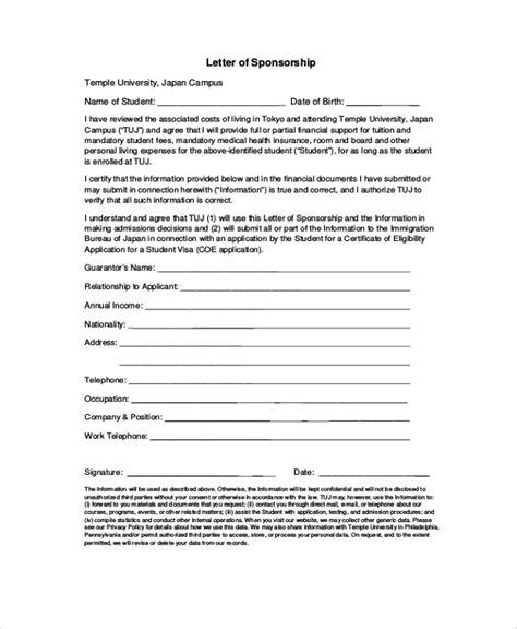 Sponsorship Request Letter For Study sle visa sponsorship letter 7 documents in pdf word