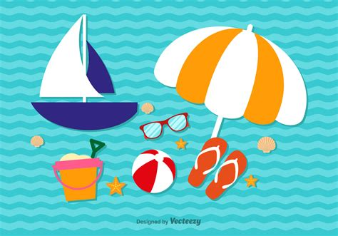 Elements Of My Vacation by Summer Vacation Elements Free Vector
