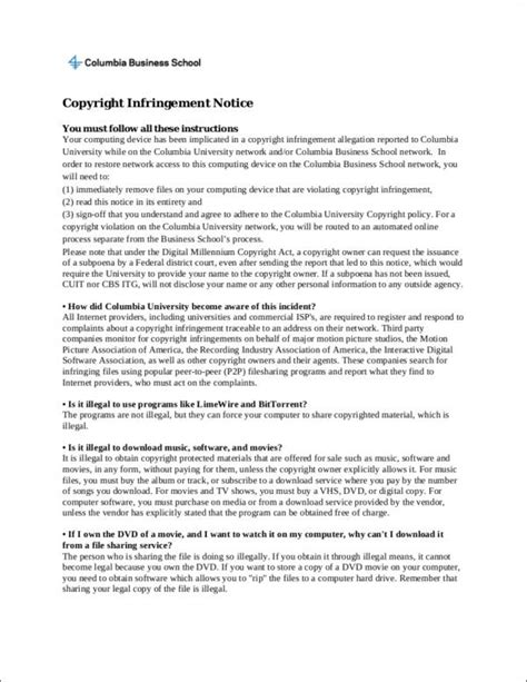 4 notice of copyright infringement sles templates