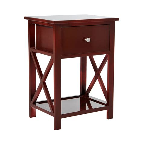 X Side Table Homcom X Side Wood End Table Nightstand W Drawer Brown End Tables Tables Furniture