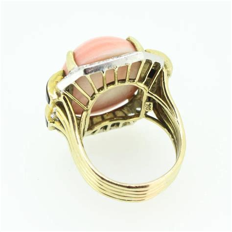 modernist gold coral black onyx ring for sale at