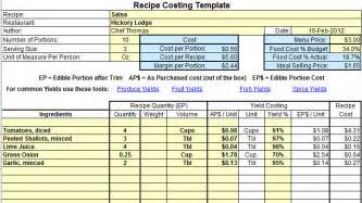 food costing sheet template excel recipe costing template exle business