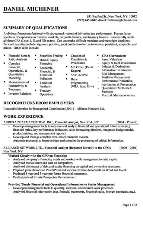 entry level finance resume sles resume financial analyst