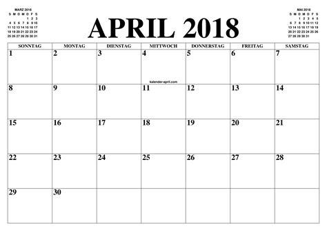 Kalender 2018 April Mai Kalender April 2018 April 2018 Kalender Zum Ausdrucken