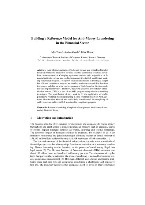 (PDF) Building a Reference Model for Anti-Money Laundering