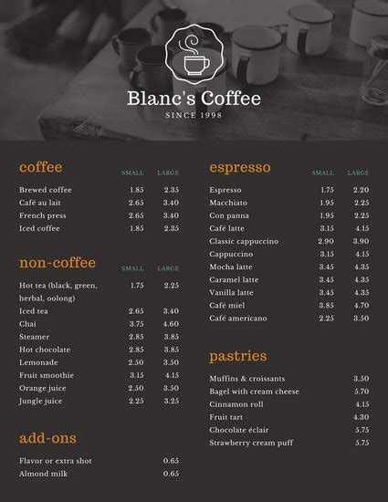 design coffee shop menu layout cafe menu templates canva