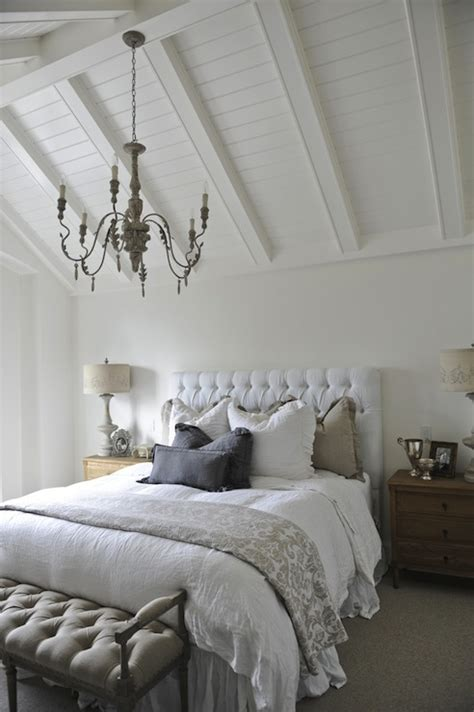 white velvet tufted headboard cottage bedroom tracey