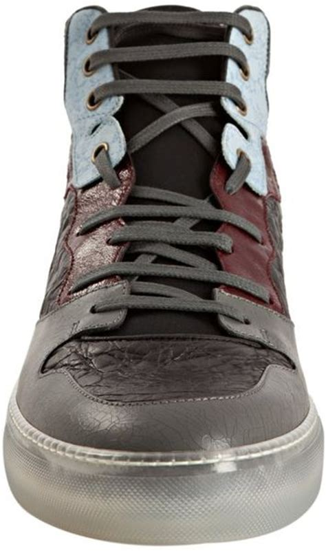 Balenciaga Patchwork Sneakers - balenciaga light blue patchwork lace up hi top sneakers in