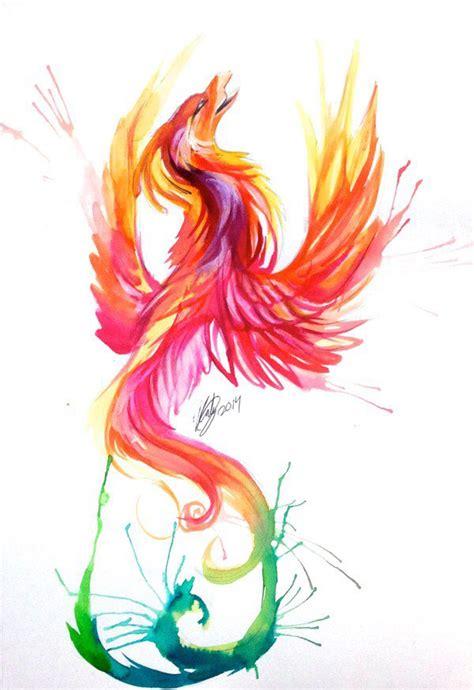 phoenix tattoo in orange ma reverse more red orange balck at bottom blues pinks at