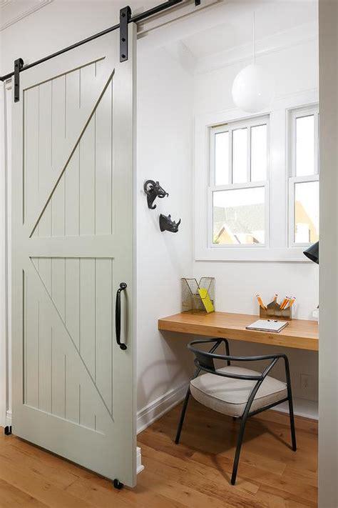 Office Barn Doors Mirrored Barn Door On Rails Transitional Bedroom