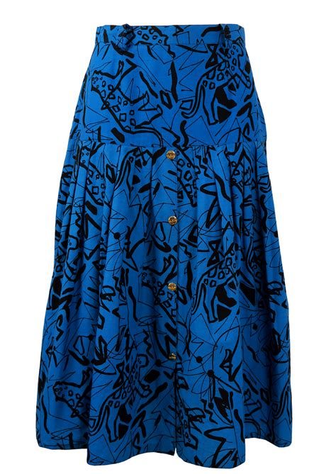 blue patterned midi skirt vintage 1980 s blue midi skirt with black abstract leopard