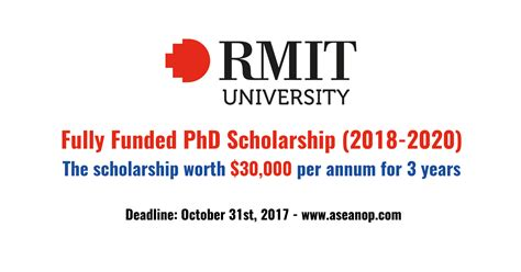 Fully Funded Mba Scholarships In Australia by Fully Funded Phd Scholarship At Rmit Australia