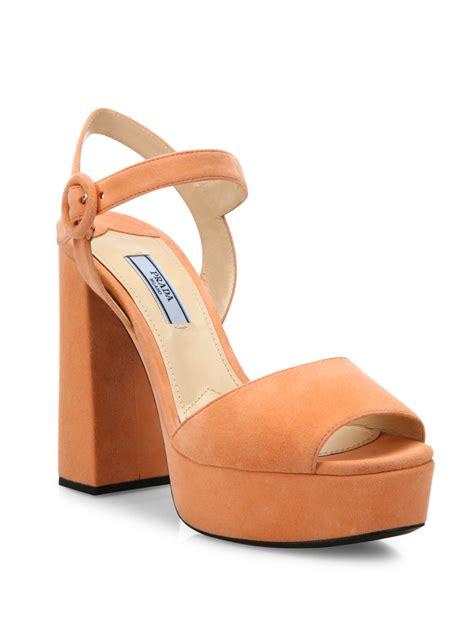 orange suede sandals prada suede platform sandals in orange lyst
