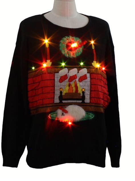 fireplace sweater lightup sweater work in progress unisex