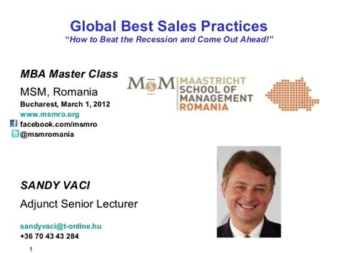Best Mba For M A by Best Sales Practices Bucharest 2012 March 1 Mba Masterclass