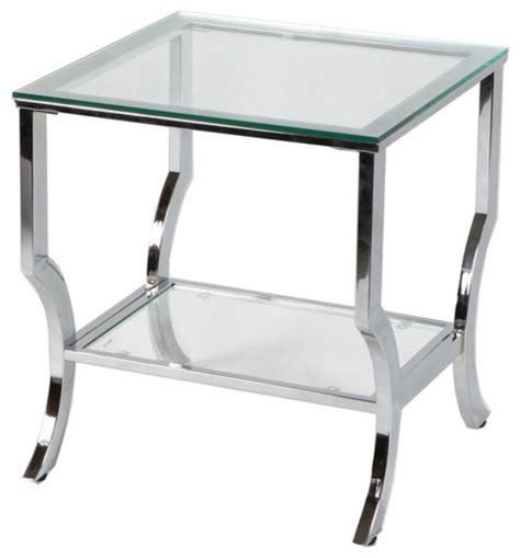 Glass And Chrome Side Table Glass End Table Chrome Contemporary Side Tables And End Tables By Naples Grande