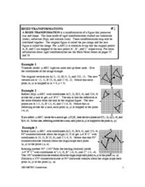 Rigid Transformations Worksheet by Rigid Transformations 8th 10th Grade Worksheet Lesson