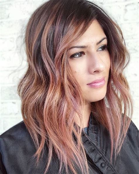 gold hair color rose gold highlights on medium brown hair dark brown hairs