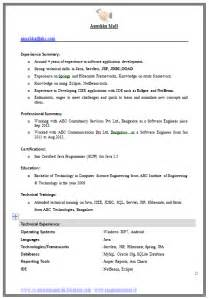 Resume Format For Freshers Engineers Computer Science Doc Exle Template Of An Excellent Computer Science Engineer Experienced Resume Format With Great