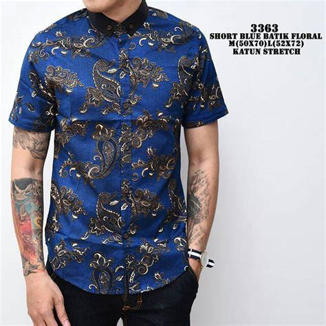 Baju Batik Pria Slimfit Bahan Katun jual batik floral kemeja batik slimfit modern pria batik katun merah biru corak bunga baru