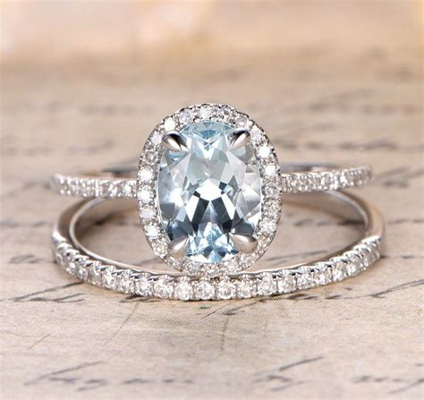 braut ringe oval aquamarine engagement ring sets pave diamond wedding