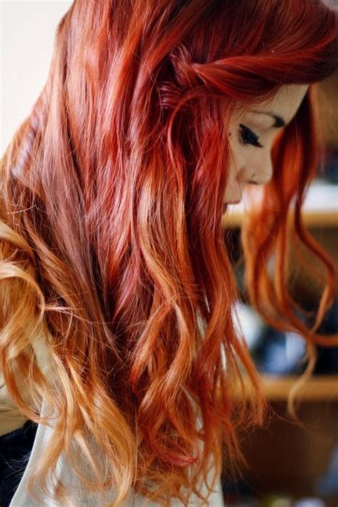 ombre with red and blonde red hair with blonde tips lua p hair pinterest