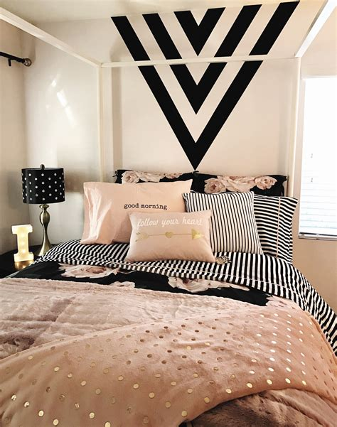 white room decor girls room black gold and pink black paint feature wall