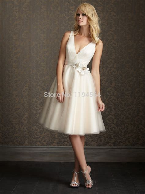 Kurze Brautkleider by V Neck Wedding Dresses A Line Bridal Gowns
