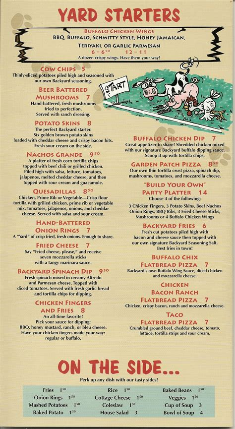 backyard bar and grill menu backyard grill and bar menu backyard grill and bar