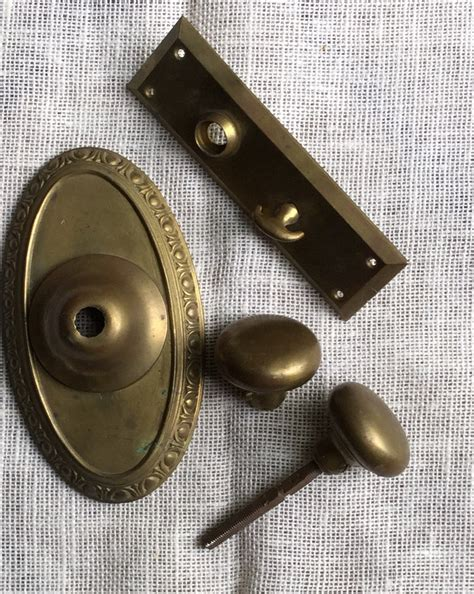 antique brass door knob set door plates and lock hardware