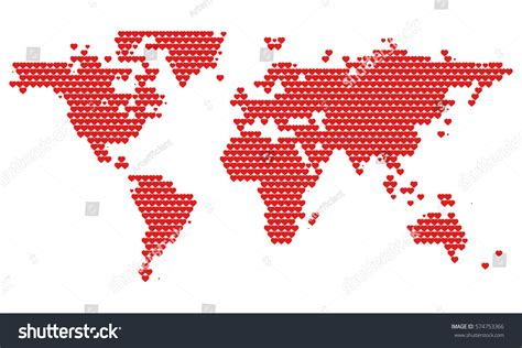 minimal world map world map dotted hearts st stock vector 574753366