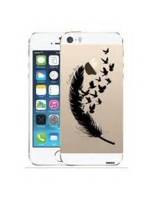 Coque transparente plume pour apple iphone 5 5s coquediscount