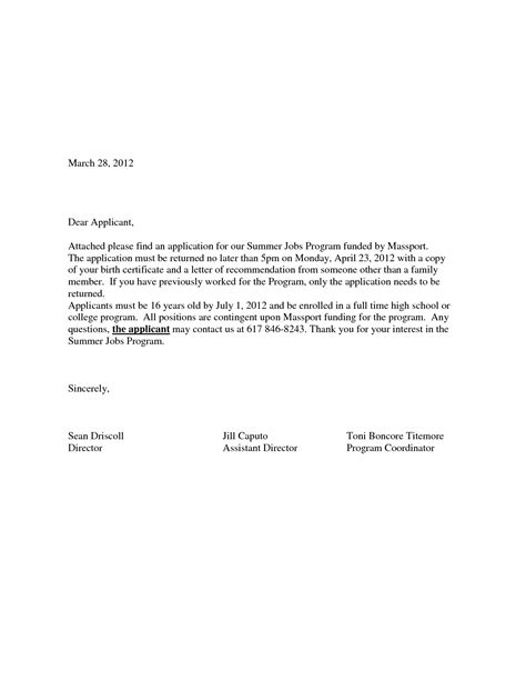 application cover letter exles how to write a letter of application for a