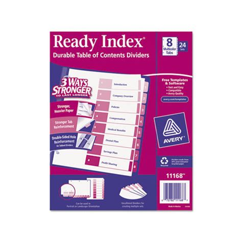 avery ready index template 15 tab
