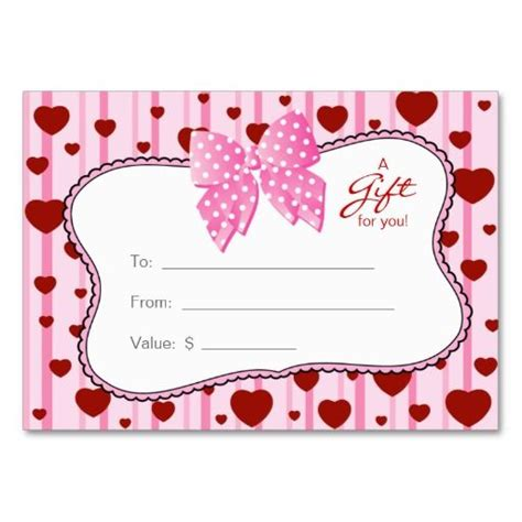valentines gift card salon gift card spa s day hearts